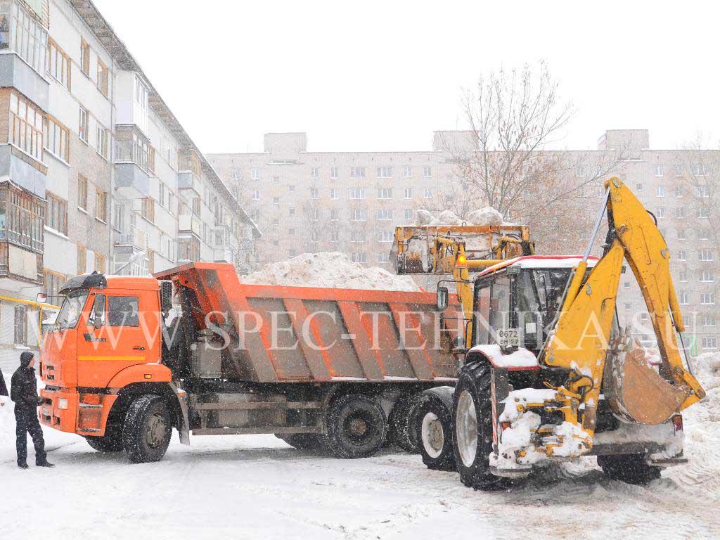 Уборка снега экскаватор погрузчик